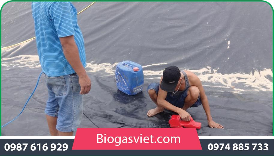 hầm biogas phủ bạt chống thấm hpde chi phí thấp